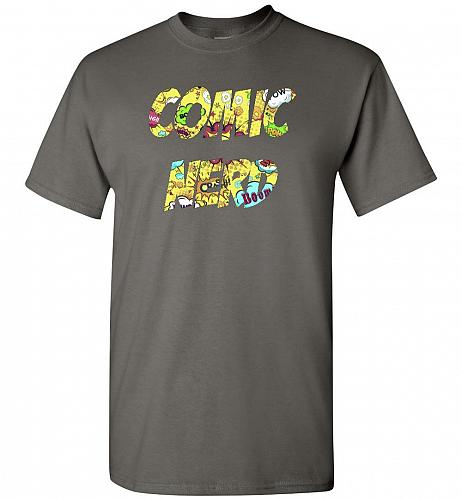 Comic Nerd Unisex T-Shirt Pop Culture Graphic Tee (5XL/Charcoal) Humor Funny Nerdy Ge