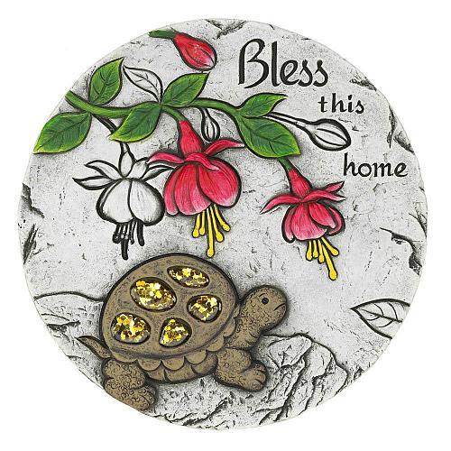"*18545U - Bless This Home Turtle 10"" Cement Garden Stepping Stone"