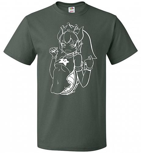 Bowsette Unisex T-Shirt V2 Pop Culture Graphic Tee (6XL/Forest Green) Humor Funny Ner