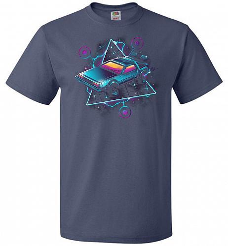 Retro Wave Time Machine Unisex T-Shirt Pop Culture Graphic Tee (5XL/Denim) Humor Funn