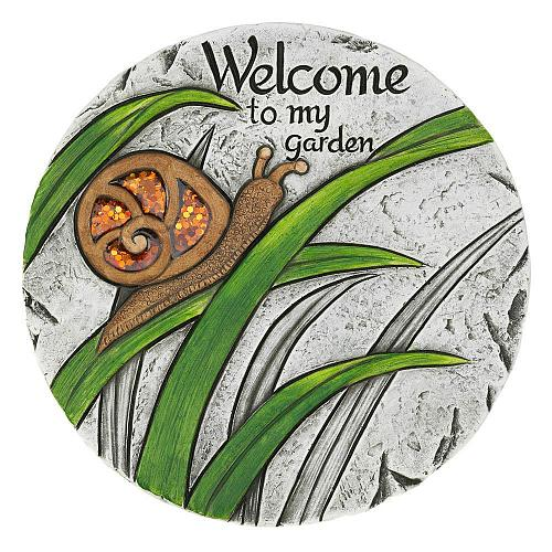 """*18543U - Welcome To My Garden Snail 10"""" Cement Stepping Stone"""