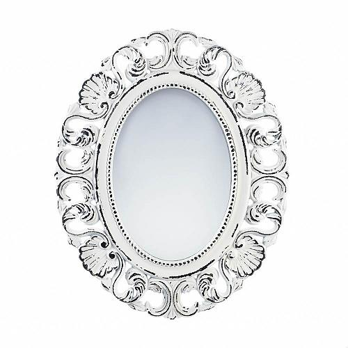 *18071U - Off-White Distressed Oval Scallop Wood Frame Wall Mirror