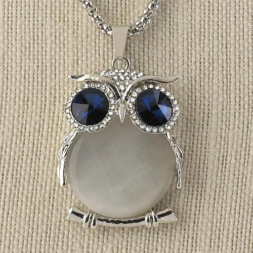 """:11020U - White Crystal Owl Pendant 26"""" Chain Necklace"""