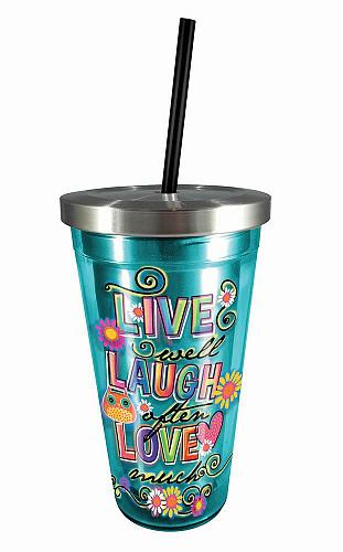 :10733U - Live Laugh Love Turquoise Stainless Steel Travel Cup Double Wall