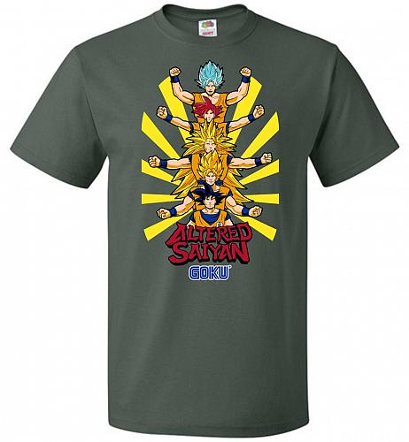 Altered Saiyan Unisex T-Shirt Pop Culture Graphic Tee (6XL/Forest Green) Humor Funny