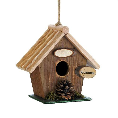 *18414U - Pine Cone Rustic Brown Wood Birdhouse