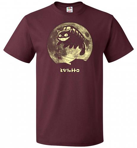 Cat Jump Unisex T-Shirt Pop Culture Graphic Tee (4XL/Maroon) Humor Funny Nerdy Geeky