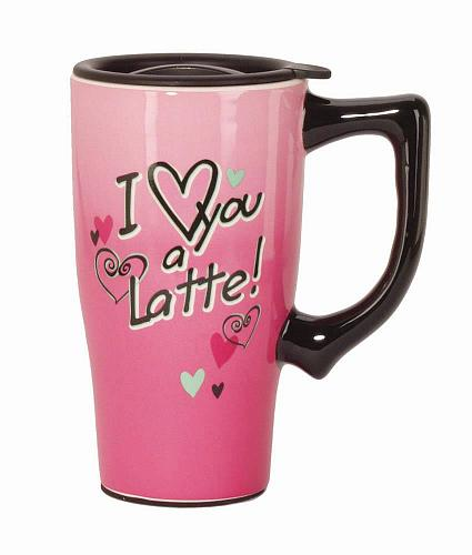 :10569U - I Love You A Latte Pink 16oz Ceramic Travel Mug