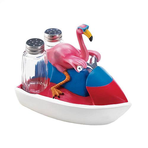 *18237U - Pink Flamingo Jet Skiing Figure Salt & Pepper Shakers