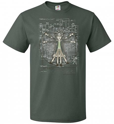 Vitruvian Rick Unisex T-Shirt Pop Culture Graphic Tee (L/Forest Green) Humor Funny Ne