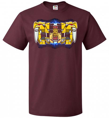 Yellow Ranger Unisex T-Shirt Pop Culture Graphic Tee (2XL/Maroon) Humor Funny Nerdy G
