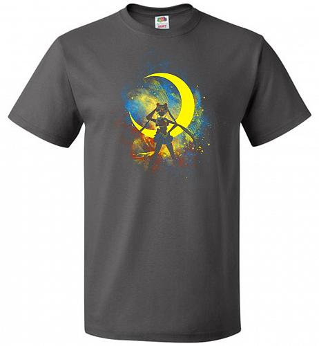 Moon Art Unisex T-Shirt Pop Culture Graphic Tee (5XL/Charcoal Grey) Humor Funny Nerdy