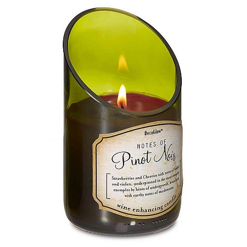 :10812U - Green Glass Wine Bottle Pinot Noir Scented Candle
