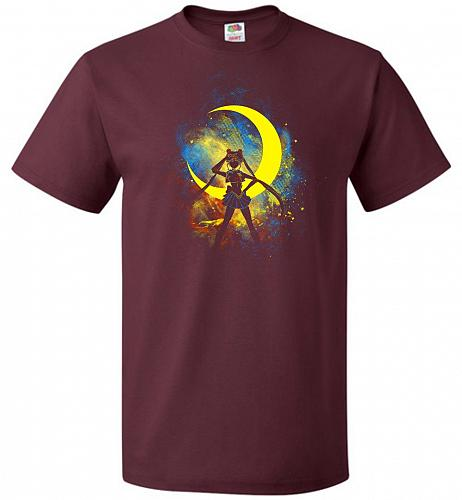 Moon Art Unisex T-Shirt Pop Culture Graphic Tee (S/Maroon) Humor Funny Nerdy Geeky Sh