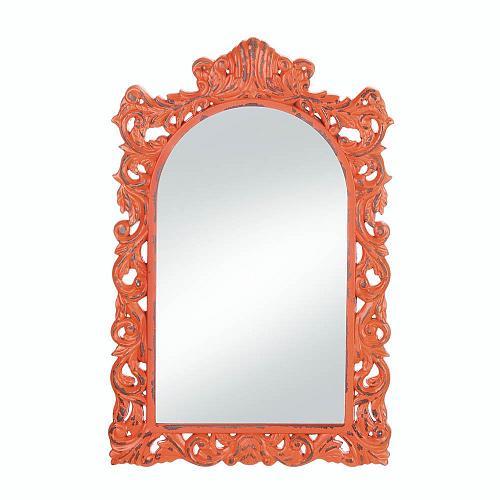 *18070U - Stylish Distressed Orange Wood Frame Wall Mirror