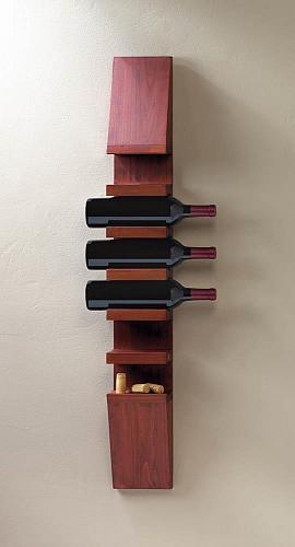 *18167U - Sleek Fir Wooden Wine Wall Rack Holds 6 Bottles