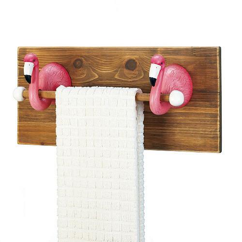 *18232U - Pink Flamingo Kitchen Bath Wood Towel Holder