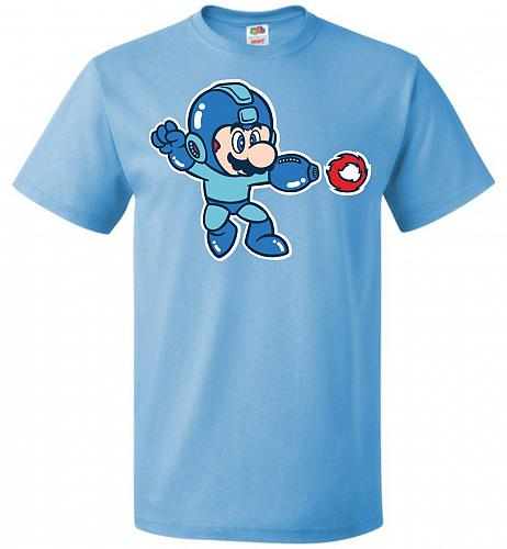 Mega Mario Unisex T-Shirt Pop Culture Graphic Tee (3XL/Aquatic Blue) Humor Funny Nerd