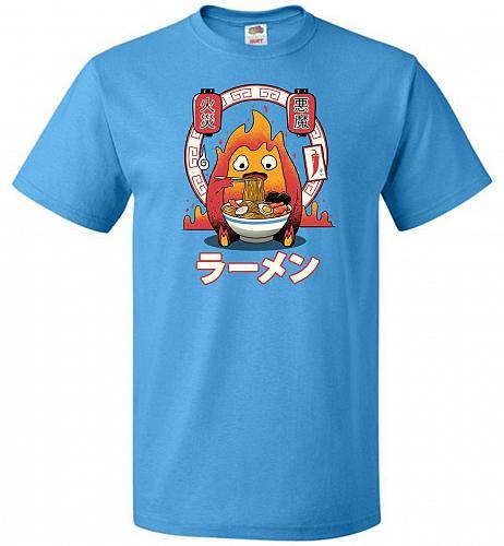 Fire Demon Ramen Unisex T-Shirts Pop Culture Graphic Tee (2XL/Pacific Blue) Humor Fun