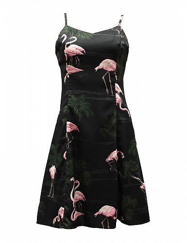 Ladies Flamingos Spaghetti Strap Hawaiian Dress in Black #PF-170 Size: MED