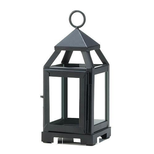 "*18083U - Black Metal 8 3/4"" Contemporary Pillar Candle Lantern Clear Glass"