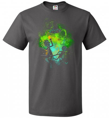 Rick Morty Art Unisex T-Shirt Pop Culture Graphic Tee (S/Charcoal Grey) Humor Funny N