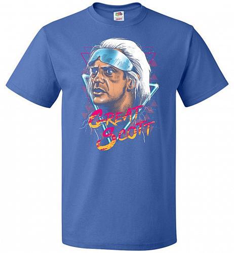 Great Scott Unisex T-Shirt Pop Culture Graphic Tee (2XL/Royal) Humor Funny Nerdy Geek