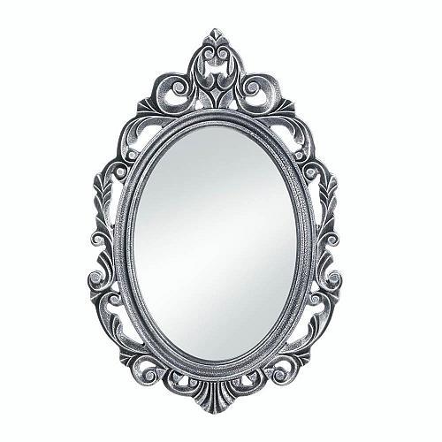 *18073U - Silver Royal Crown Wood Frame Oval Wall Mirror
