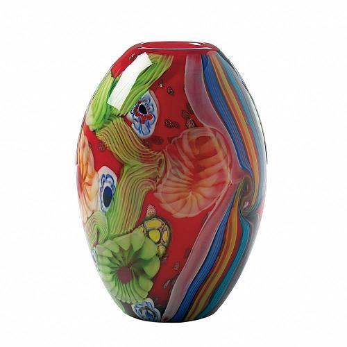 *18102U - Red Floral Flow Glass Art Vase