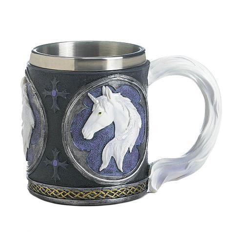 *18045U - Magical White Unicorn Stainless Steel Lined Mug