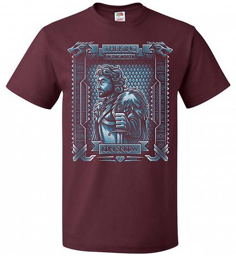 Jon Snow King Of The North Adult Unisex T-Shirt Pop Culture Graphic Tee (2XL/Maroon)