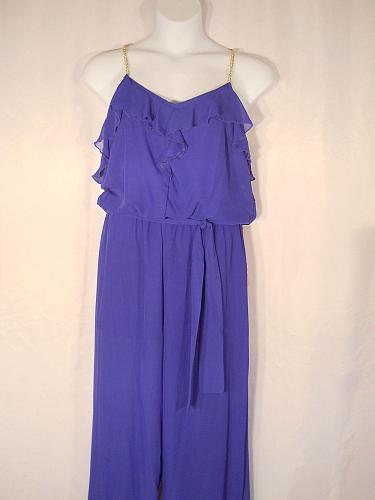 Jumpsuit Women SIZE XL Blue Chained Halter Belted Sleeveless Ruffled Neck L8TER