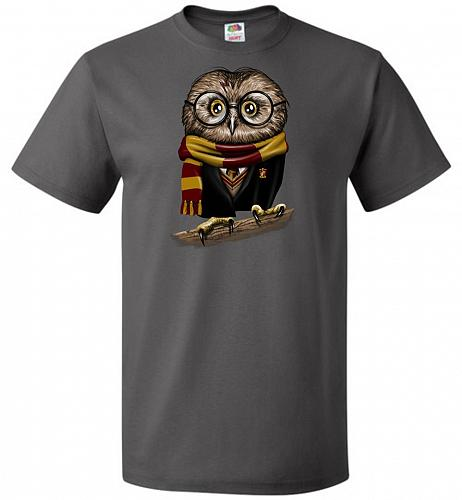 Owly Potter Unisex T-Shirt Pop Culture Graphic Tee (2XL/Charcoal Grey) Humor Funny Ne