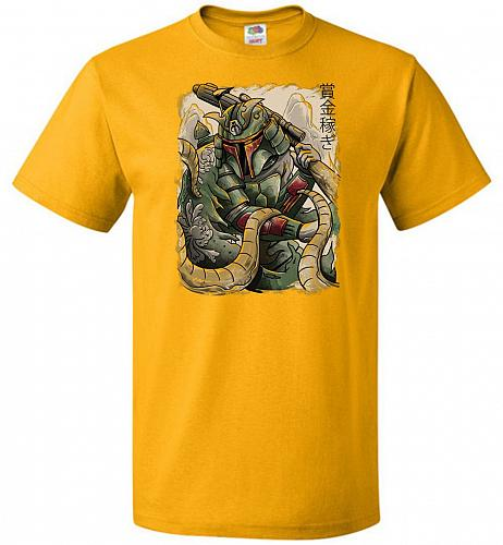 Samurai Hunter Unisex T-Shirt Pop Culture Graphic Tee (4XL/Gold) Humor Funny Nerdy Ge