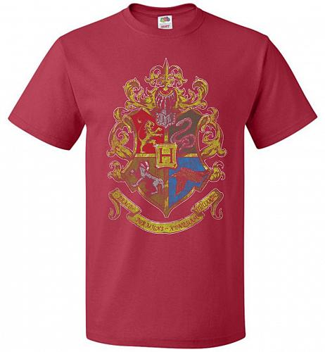 Hogwart's Crest Adult Unisex T-Shirt Pop Culture Graphic Tee (M/True Red) Humor Funny