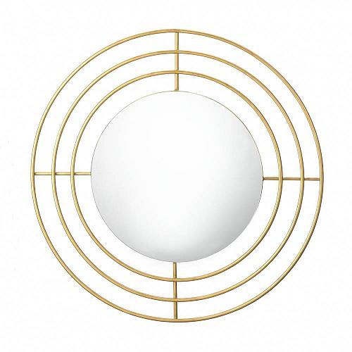 """*18523U - Modern Gold 14"""" Round Wall Mirror"""