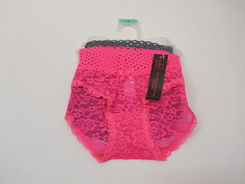 Women 3 Pair Lace Boyshorts Panties SIZE S Wide Waist Assorted Solid Colors