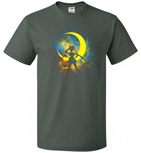 Moon Art Unisex T-Shirt Pop Culture Graphic Tee (6XL/Forest Green) Humor Funny Nerdy