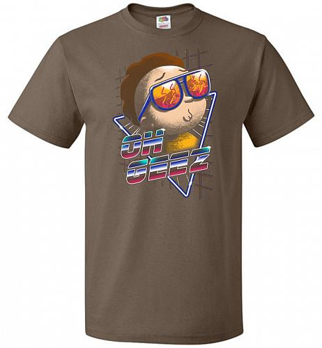 Oh Geez Unisex T-Shirt Pop Culture Graphic Tee (3XL/Chocolate) Humor Funny Nerdy Geek