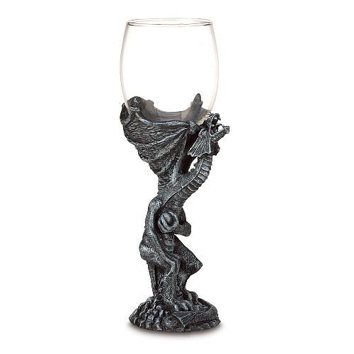 37959U - Medieval Gray Polyresin Dragon Figure Stem Glass Drinking Goblet