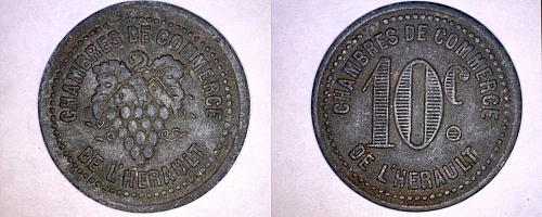 ND c.1918 French 10 Centimes Notgeld World Coin De L'Herault France World War I
