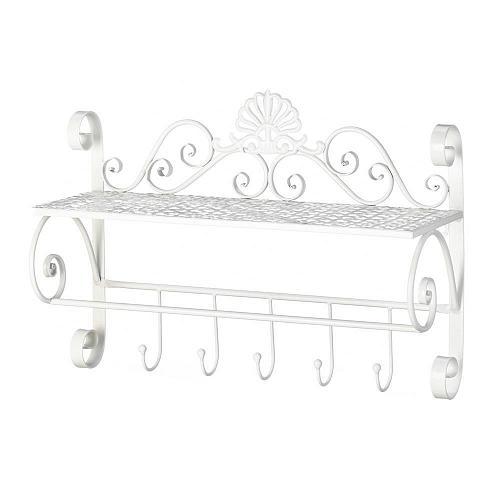 *18384U - White Flourish Iron Wall Shelf W/5 Hooks