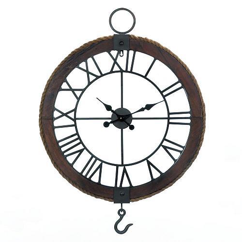 *18372U - Industrial Round Wood & Metal Wall Clock