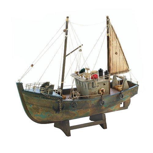 *18486U - Cutter Fishing Boat Paulownia Wood Model