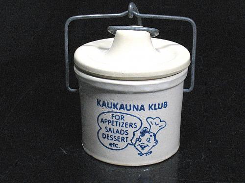 Vintage Kaukauna Klub Crock Jar Chef Wire Bail Top Advertising Pottery Jam Pot