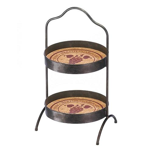 *18370U - Vineyard 2-Tier Standing Tray Rack