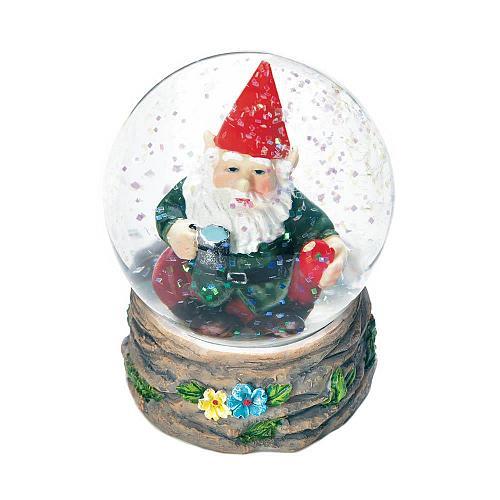 *18443U - Coffee Break Gnome Figurine Mini Glass Snow Globe