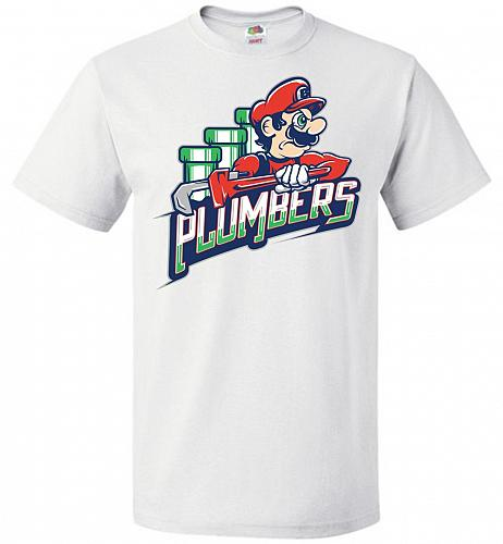 Plumbers Unisex T-Shirt Pop Culture Graphic Tee (6XL/White) Humor Funny Nerdy Geeky S