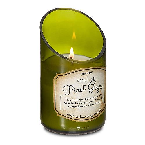 :10815U - Green Glass Wine Bottle Pinot Grigio Scented Candle