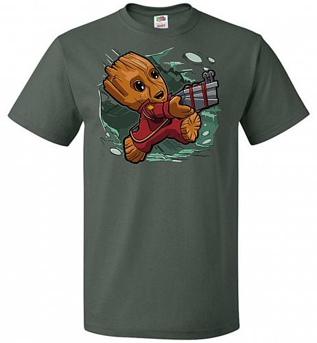 Tiny Groot Unisex T-Shirt Pop Culture Graphic Tee (L/Forest Green) Humor Funny Nerdy